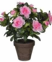 2x nep planten groene azalea kunstplanten met roze bloemen 27 cm met pot stan grey 10160661