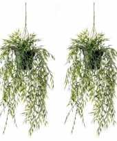 2x nep planten groene bamboe kunstplanten 50 cm met hangpot