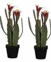 2x nep planten groene cactus met bloemen kunstplanten 47 cm met groene pot