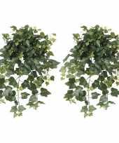 2x nep planten groene hedera helix klimop weerbestendige kunstplanten 65 cm