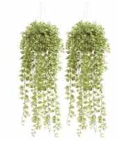 2x nep planten groene hedera klimop kunstplanten 50 cm met hangpot