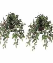 2x nep planten groene tradescantia vaderplant kunstplanten 45 cm met hangpot