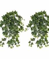 2x nep planten groene witte hedera helix klimop weerbestendige kunstplanten 65 cm