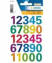 2x stickervellen met gekleurde cijfer stickers