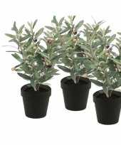 3 stuks groen kunstplant olijf boompje plant in pot