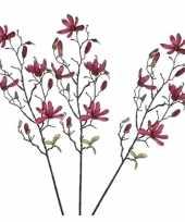 3 stuks nep planten magnolia beverboom kunstbloemen takken 175 cm decoratie 10140220