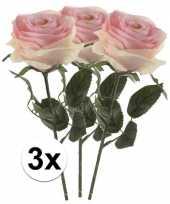 3 x kunstbloemen steelbloem licht roze roos simone 45 cm