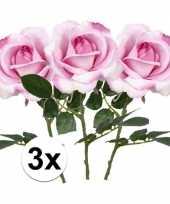 3 x kunstbloemen steelbloem roze roos carol 37 cm