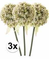 3 x kunstbloemen steelbloem witte sierui 70 cm