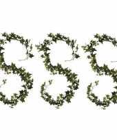 3x groene klimop hangplanten 180 cm kunstplanten slinger woonaccessoires woondecoraties