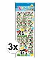 3x kinder stickers koeien