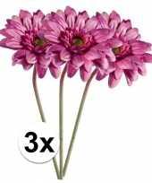 3x kunstbloemen steelbloem roze gerbera 47 cm