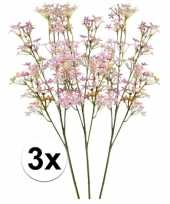 3x kunstbloemen tak roze kroonkruid 68 cm