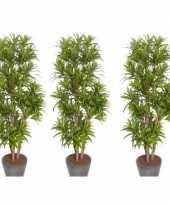 3x nep planten groene dracaena reflexa binnenplant kunstplanten 120 cm voor binnen