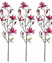 3x nep planten magnolia beverboom kunstbloemen takken 80 cm decoratie 10159846