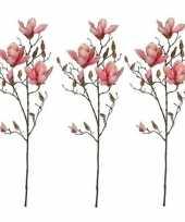 3x nep planten magnolia beverboom kunstbloemen takken 90 cm decoratie 10159838