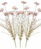 3x roze papaver klaproosjes kunstbloemen takken 53 cm decoratie