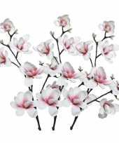3x wit roze magnolia beverboom kunstbloemen takken 100 cm decoratie