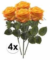 4 x kunstbloemen steelbloem geel oranje roos simone 45 cm