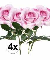 4 x kunstbloemen steelbloem roze roos carol 37 cm