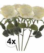 4 x kunstbloemen steelbloem witte roos simone 45 cm