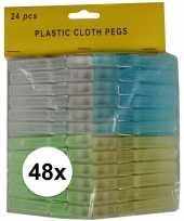 48x kunststof wasgoedknijpers 8 cm