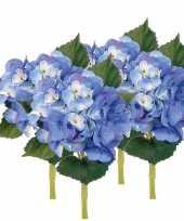 4x blauwe hortensia kunstbloemen met steel 48 cm