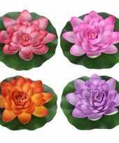 4x gekleurde waterlelie kunstbloemen vijverdecoratie 26 cm