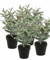 4x groen kunstplant olijf boompje plant in pot