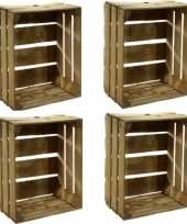 4x houten fruitkistje 30 x 50 x 40 cm