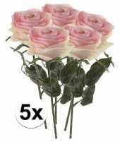 5 x kunstbloemen steelbloem licht roze roos simone 45 cm