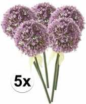 5 x kunstbloemen steelbloem lila sierui 70 cm