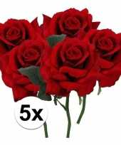5 x kunstbloemen steelbloem rode roos deluxe 31 cm