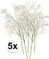 5 x kunstbloemen steelbloem wit gipskruid 65 cm