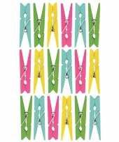 54x gekleurde hobby kaarten decoratie knijpertjes van hout 5 cm