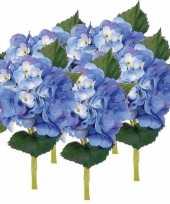 5x blauwe hortensia kunstbloemen met steel 48 cm