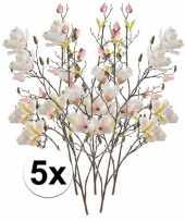 5x creme magnolia kunstbloem 105 cm