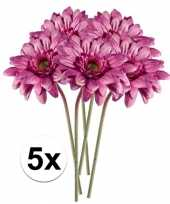 5x kunstbloemen steelbloem roze gerbera 47 cm