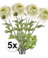 5x kunstbloemen tak groen wit ranonkel 45 cm