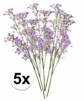 5x kunstbloemen tak paarse kroonkruid 68 cm