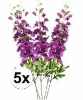 5x kunstbloemen tak paarse ridderspoor 70 cm