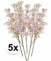 5x kunstbloemen tak roze kroonkruid 68 cm