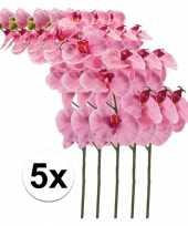 5x kunstbloemen tak roze orchidee 100cm