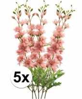 5x kunstbloemen tak roze ridderspoor 70 cm