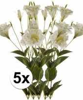 5x kunstbloemen tak wit groen lisianthus 85 cm