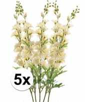 5x kunstbloemen tak wit ridderspoor 70 cm