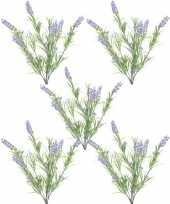 5x nep planten groene lilapaarse lavandula lavendel kunstplanten 44 cm bundel bosje