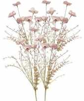 5x roze papaver klaproosjes kunstbloemen takken 53 cm decoratie