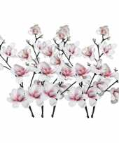 5x wit roze magnolia beverboom kunstbloemen takken 100 cm decoratie