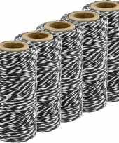 5x zwart wit katoenen touw 50 meter cadeaulint